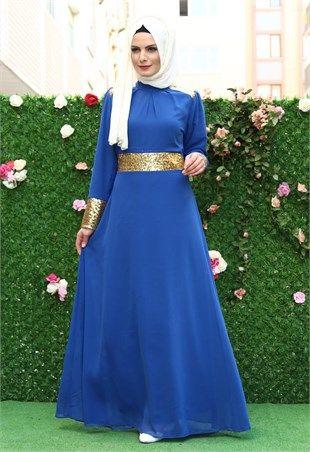 d5735c76d91dc Ravza Pullu Şifon tesettür Elbise Saks 5740 | Abiye | Fashion ...