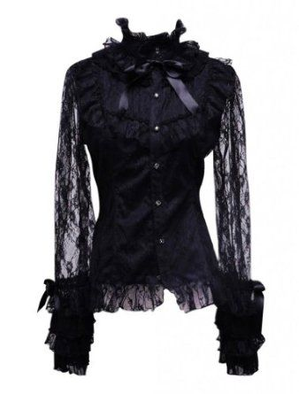 his stunningly beautiful blouse is meticulously designed and the best example of an authentic gothic Victorian fashion piece. Adorned with sleeves of the softest lace that match well with a number of gloves. The ruffled cuffs, detailed chest, standing collar, and silk bow-tie that all combines to make this a one of a kind blouse. $71.29  http://gothiclolitastore.com/product/lace-sleeved-gothic-victorian-blouse/  #goth #gothic #lolita #dark #elegant #fashion #sexy #lace #blouse