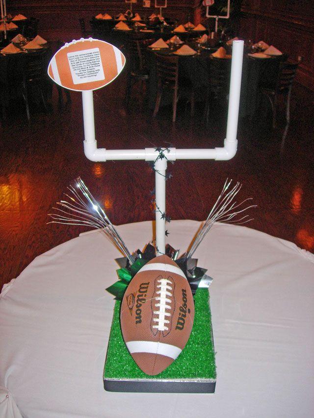 Sample diy football centerpiece with real goal