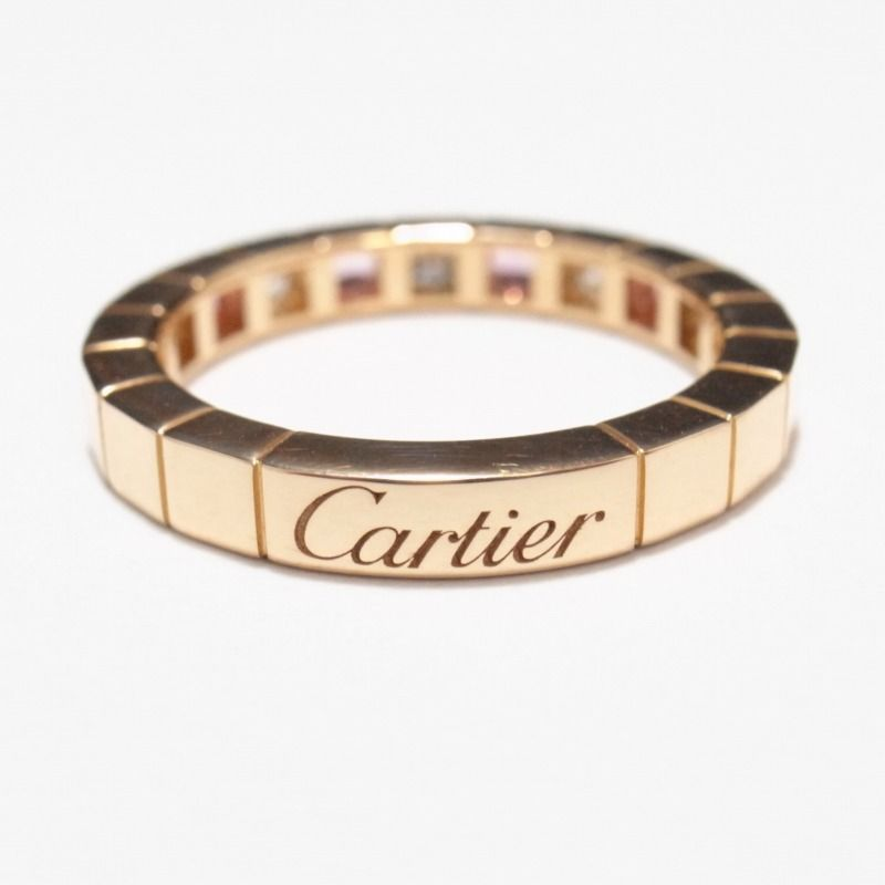 Cartier 18k rose gold lanieres pink sapphires and diamonds ring