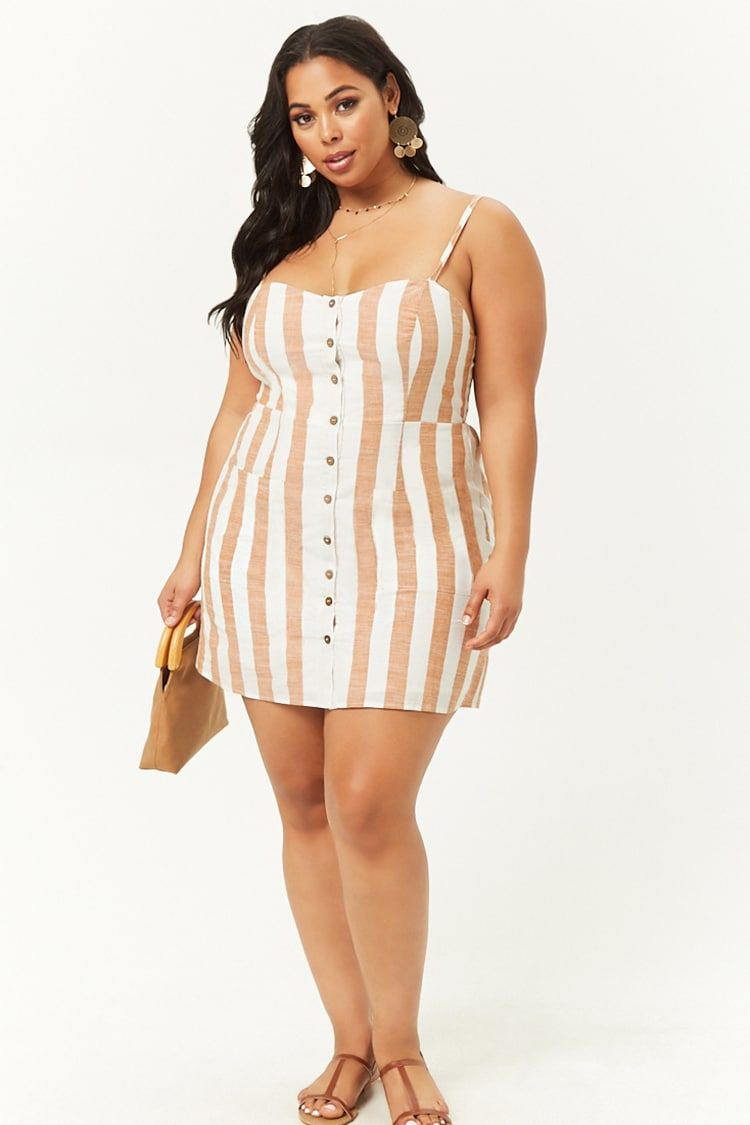 Plus Size Striped Button Front Dress Plus Size Outfits Girl