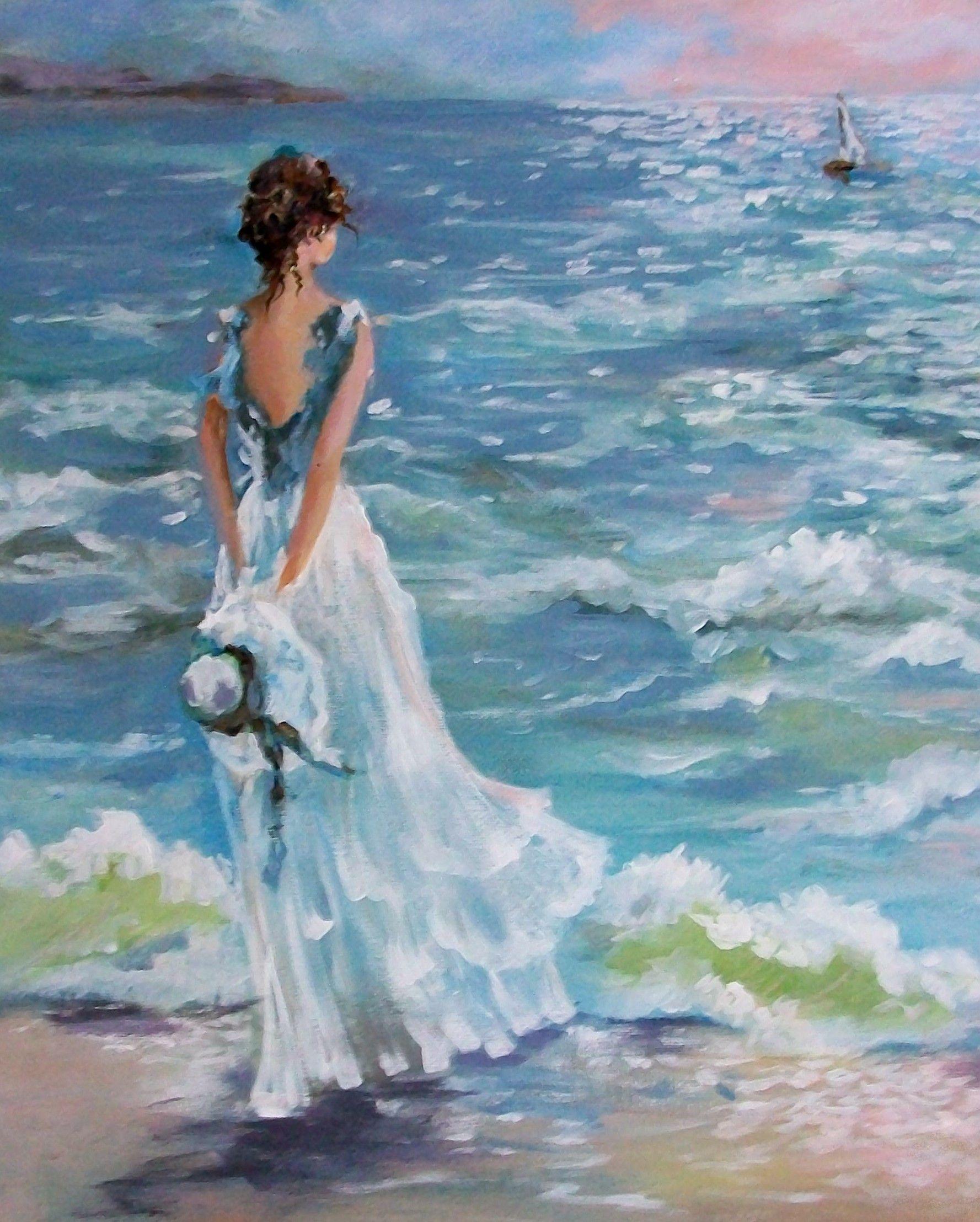 Открытка женщины у моря