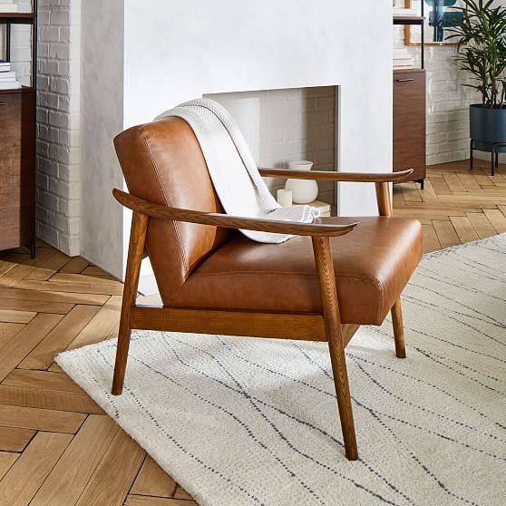 Mid Century Leather Show Wood Chair Brown Leather Chairs Leather Wood Chair Wood Chair