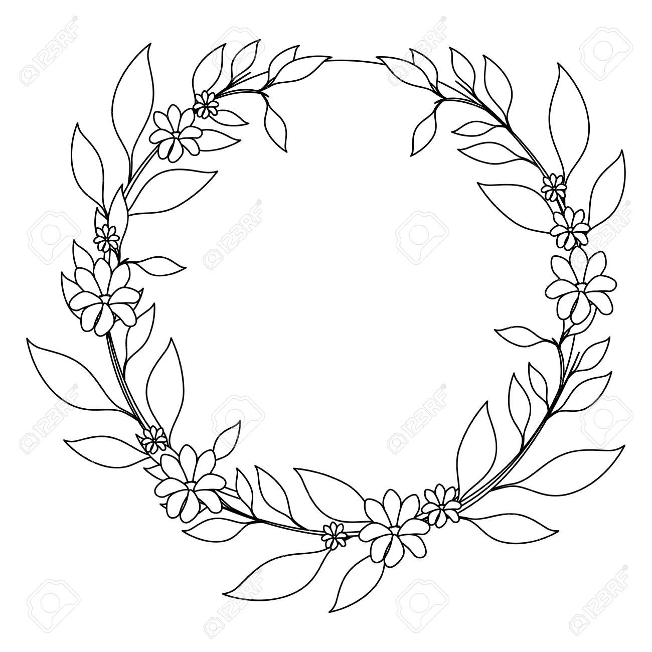 Wreath Of Tropical Flowers And Leaves Icon Over White