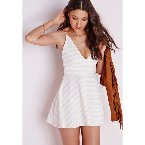 Missguided Plunge Skater Dress Pastel Pink Stripe ($44) found on Polyvore featuring women's fashion, dresses, pink, summer skater dress, v-neck dresses, striped dress, pink dress and pink striped dress