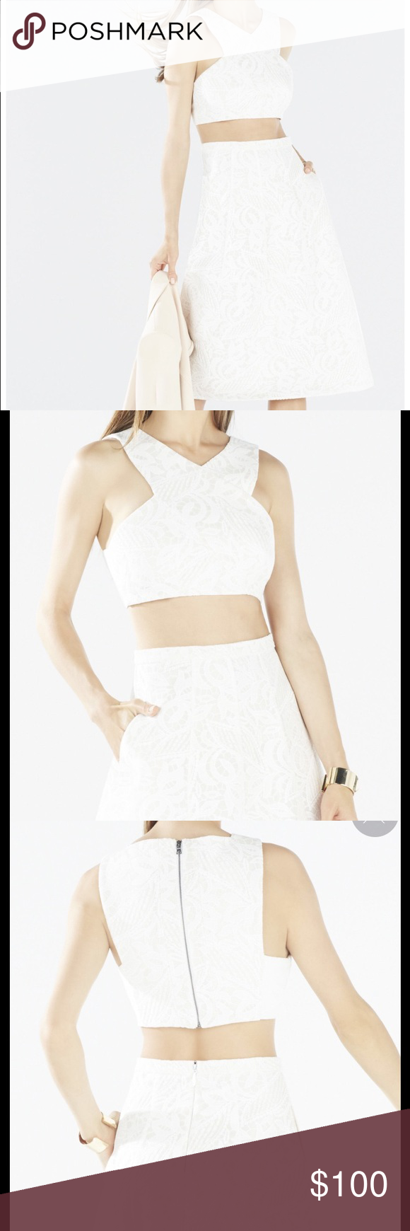 BCBG ELLYSON Embroidered Mesh Two-Piece Dress Used once! Love this dress. Can be worn to a rehearsal dinner or bridal shower! BCBG Dresses Midi