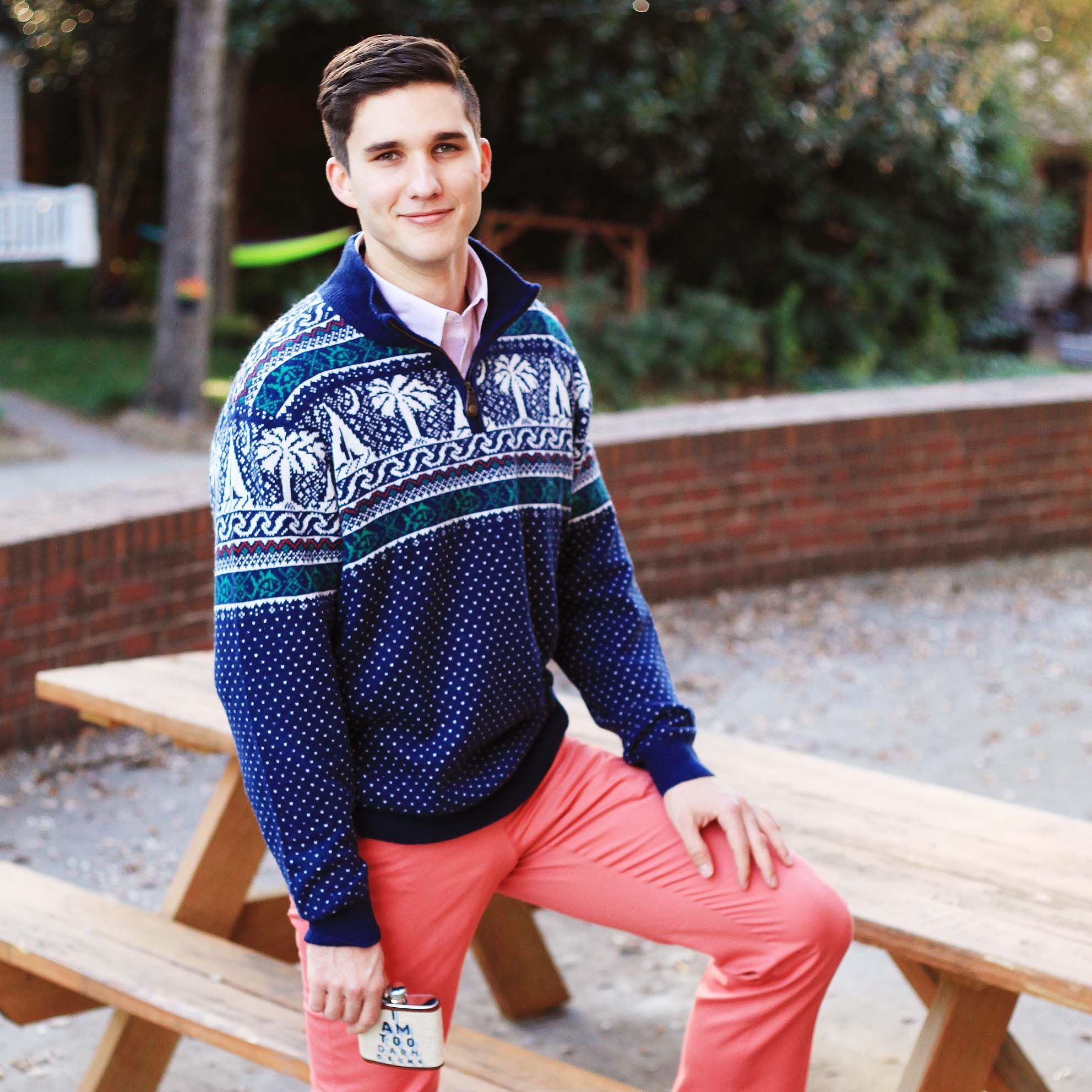 Fair Isle 1 4 Zip Pullover In Navy By Southern Tide