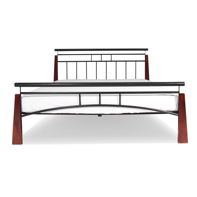 Yoko Podwójne łóżko Metalowe Z Drewnianymi Nogami W Stylu