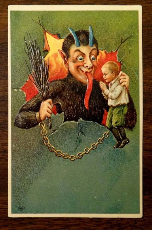 KRAMPUS w SWITCH AND A PLEADING BOY ON A CHAIN 1908 Fantasy Christmas Postcard