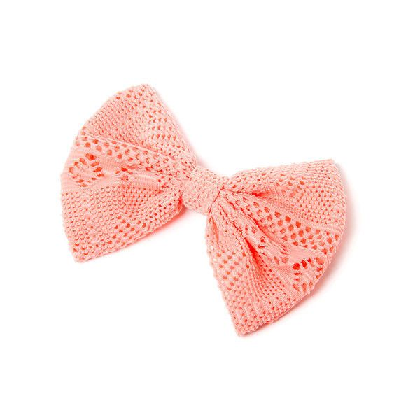 Light Coral Crocheted Bow Hair Clip (120 BRL) ❤ liked on Polyvore featuring accessories, hair accessories, bow, fillers, hair, hair clip accessories, crochet hair accessories, bow hair clip, crochet hair clips and hair bow accessories