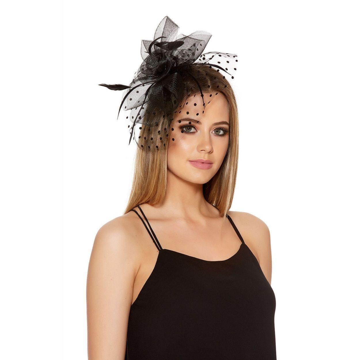 quiz black polka dot fascinator | debenhams | wedding hair