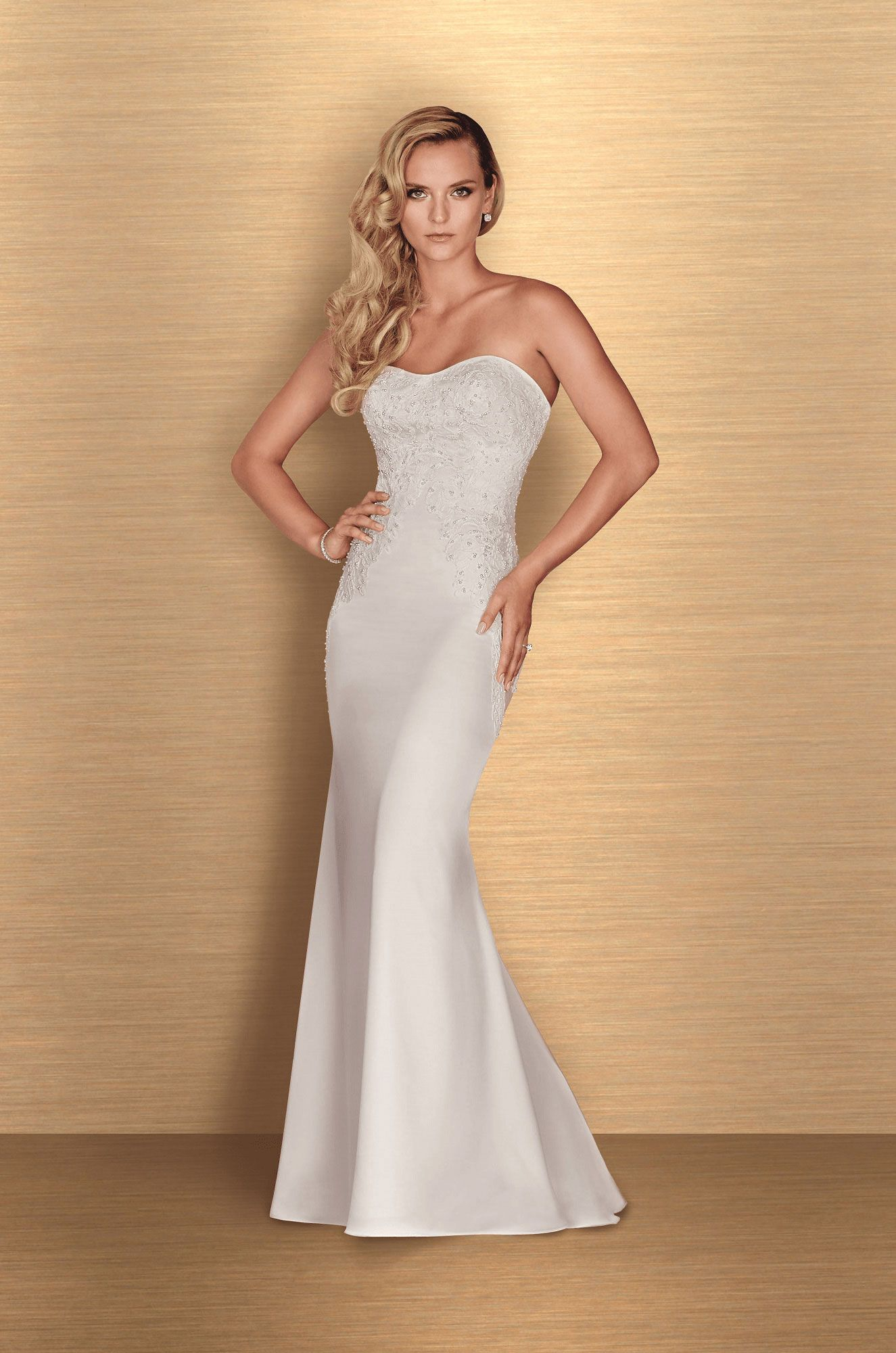 Satin beaded wedding dress style paloma blanca satin