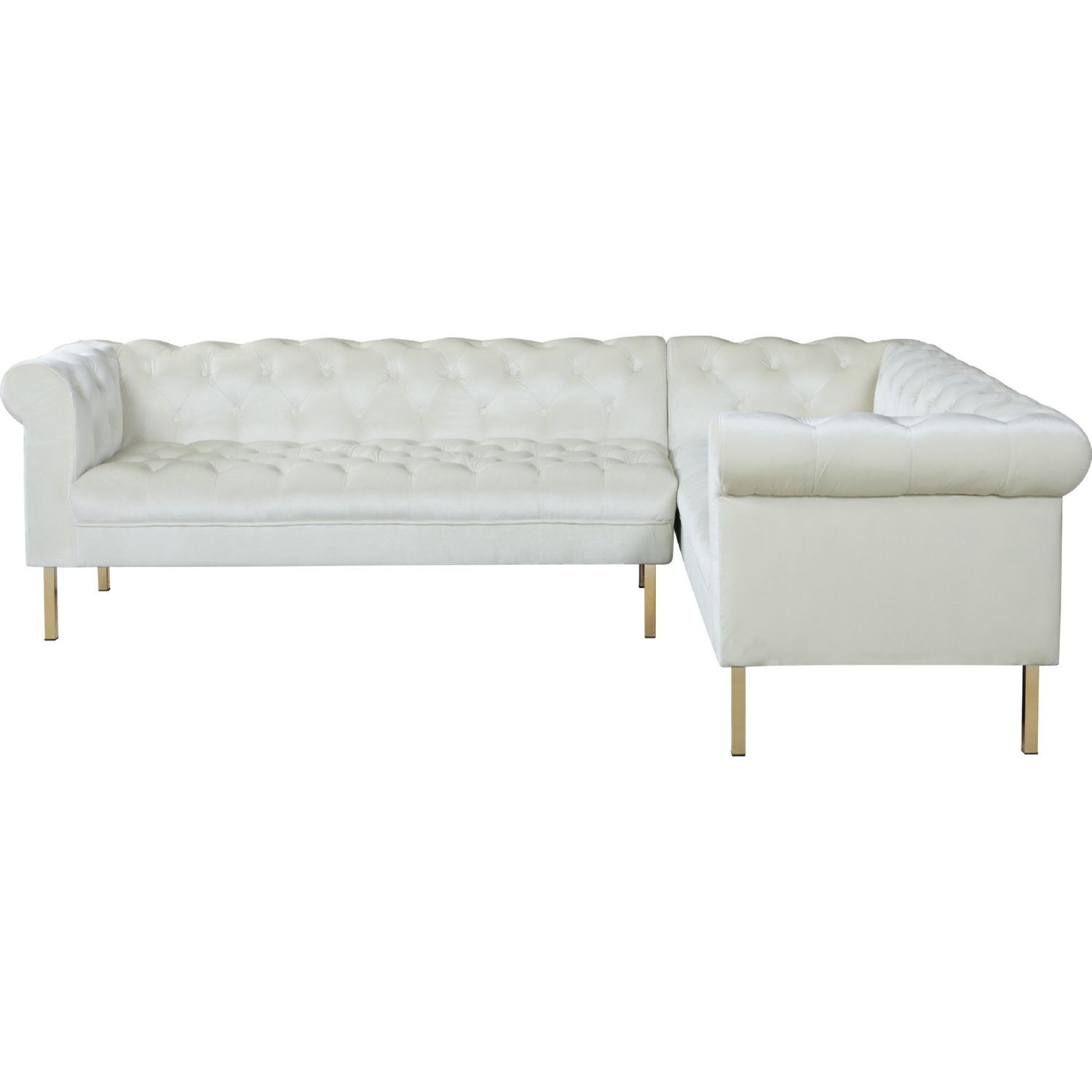 Chic Iconic Giovanni Right Sectional Sofa Tufted Beige Velvet Gold Legs Sectional Sofa Sofa Bench Cushions