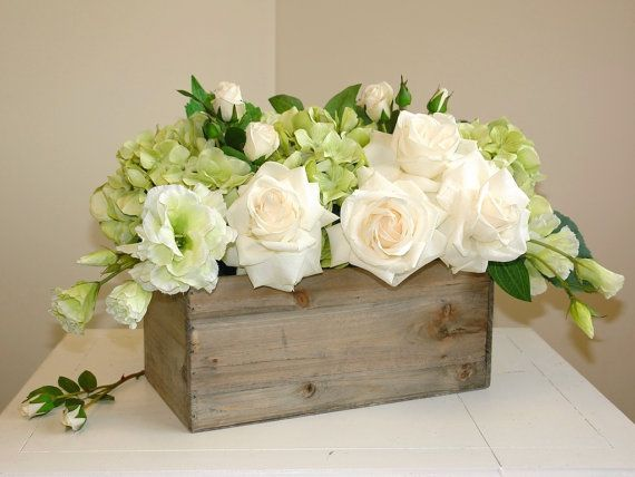 Fl Arrangement Table Top Spring Centerpieces Wood Box Bo Woodland Planter Flower Rustic Pot Square Chic Wedding