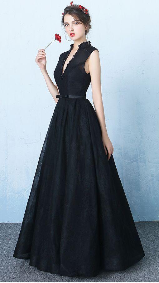 New Design Black Lace V Neck Prom Dresses,Standup Neck Backless ...