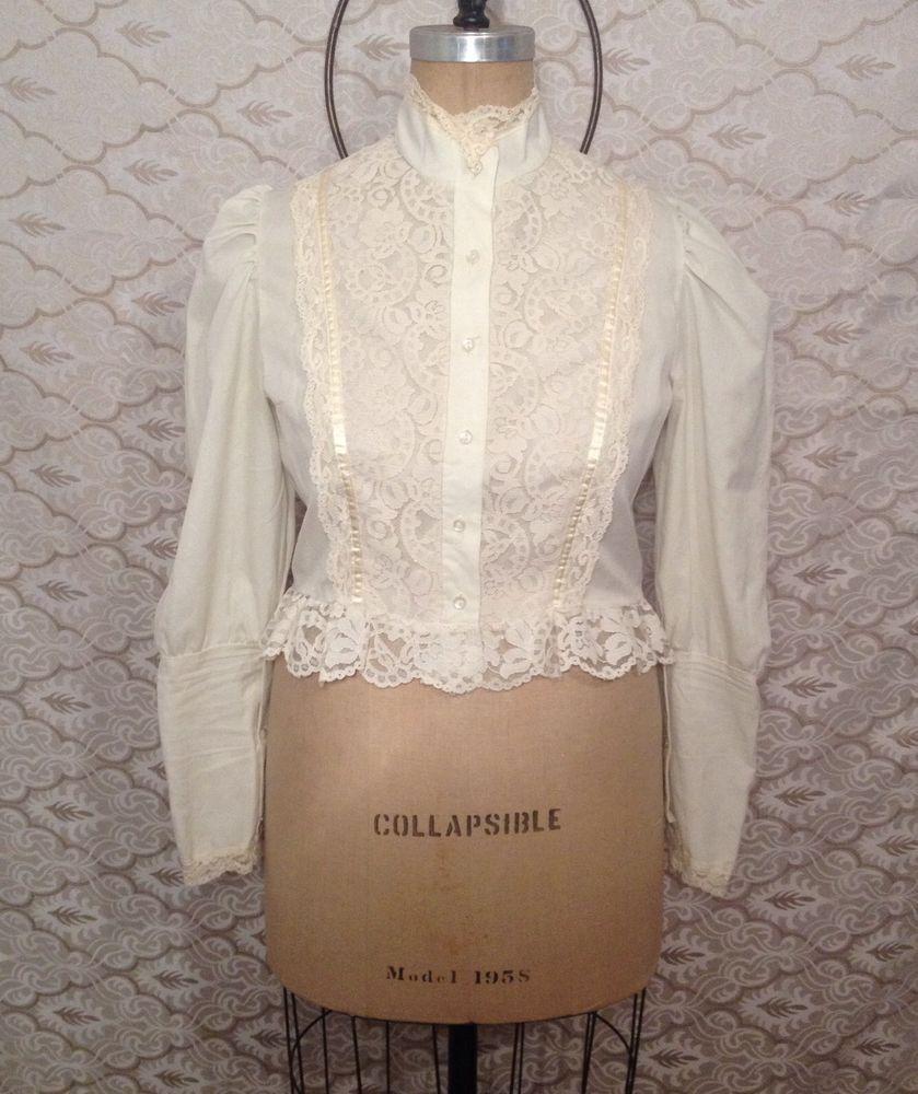 Beautiful Victorian Lace Vintage Long Sleeve Boho Bohemian Top Ivory Size M #gothic