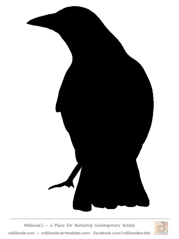 graphic about Printable Silhouette Templates known as Fowl Silhouette Stencil Template Crow at www.milliande