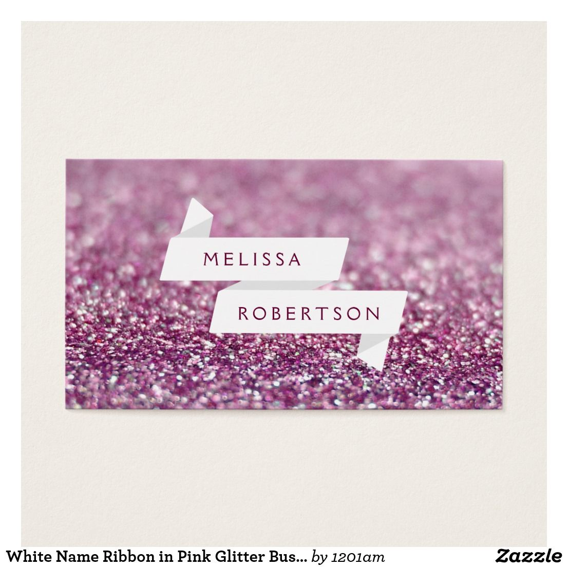 White Name Ribbon In Pink Glitter Business Card