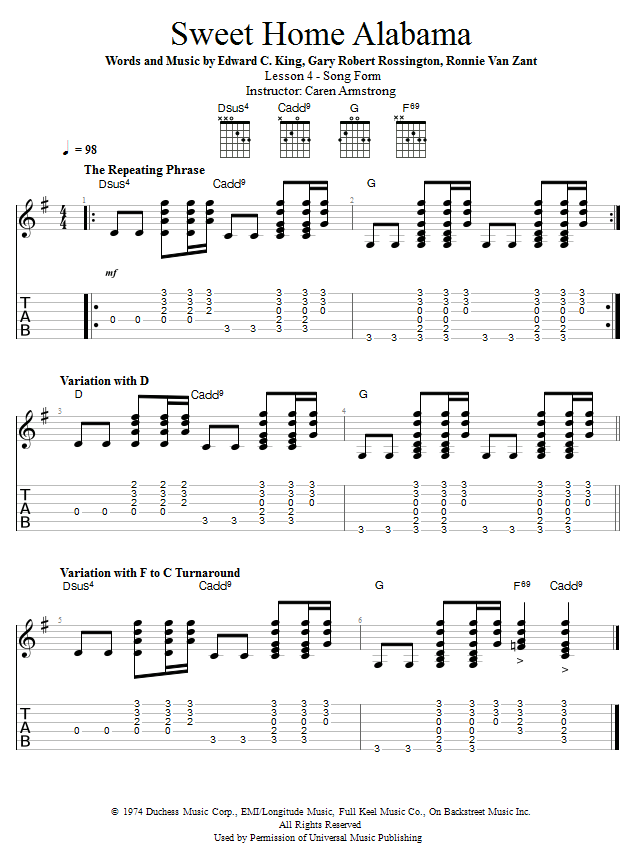 Guitar Lessons Sweet Home Alabama Song Form Guitar Lessons 2