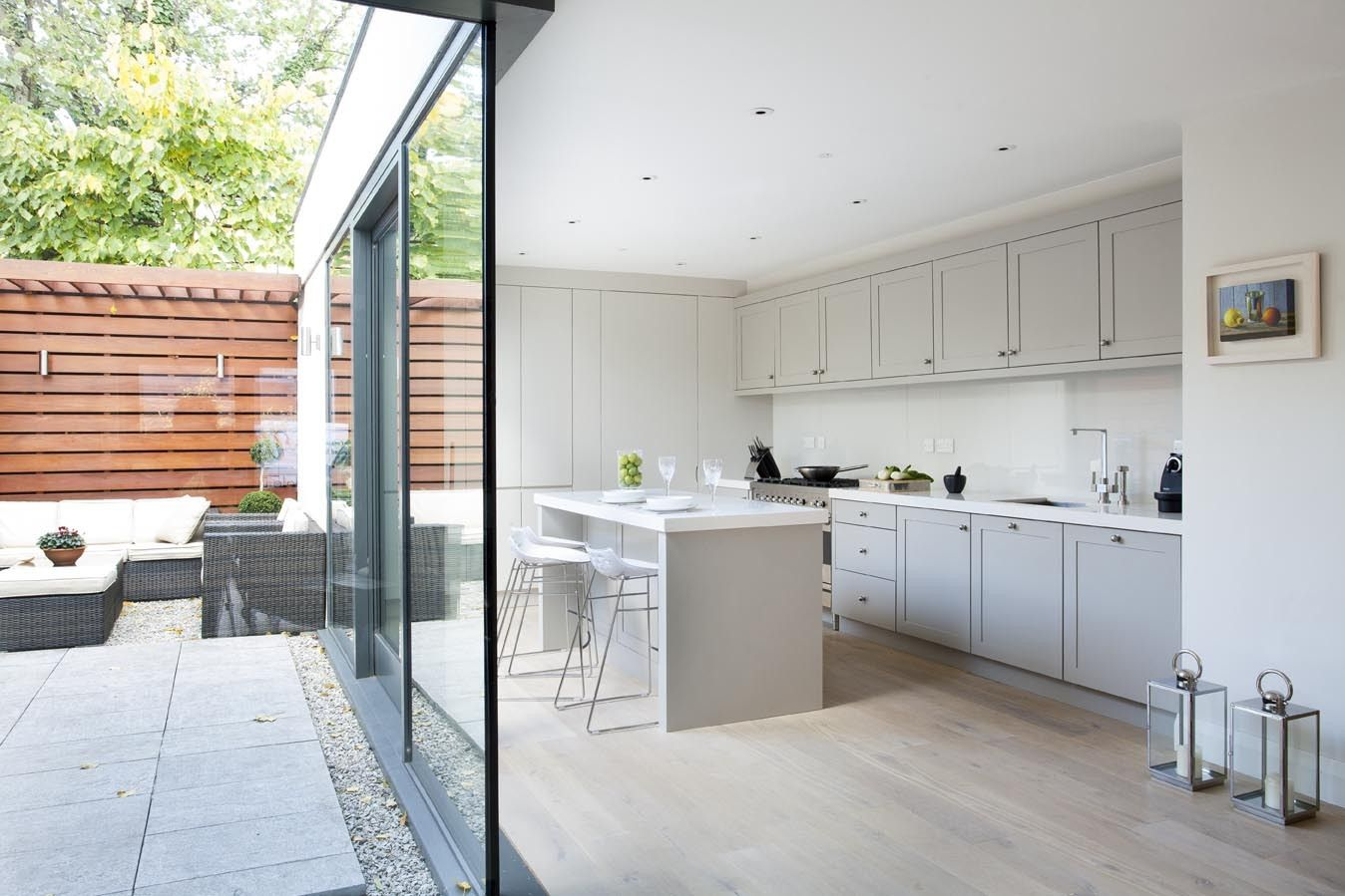 French grey kitchen with white washed oak flooring. Grey