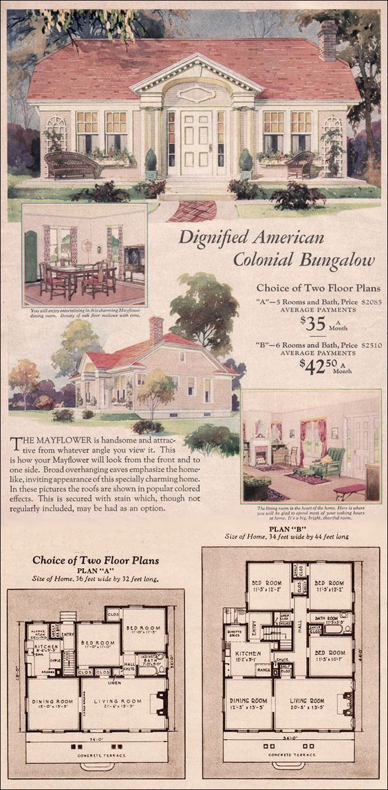 1930 Wardway House Plans Colonial Revival Cottage Mayflower By Montgomery Ward How To Plan House Plans Vintage House Plans