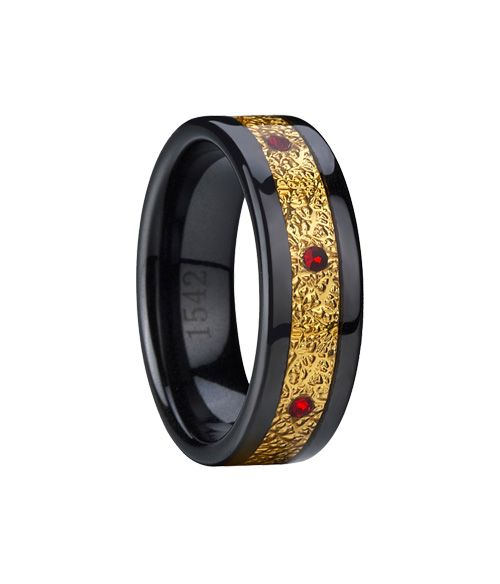 Black Ceramic Wedding Ring With Gold Plating And Red Stone   Followbest.com  #rings