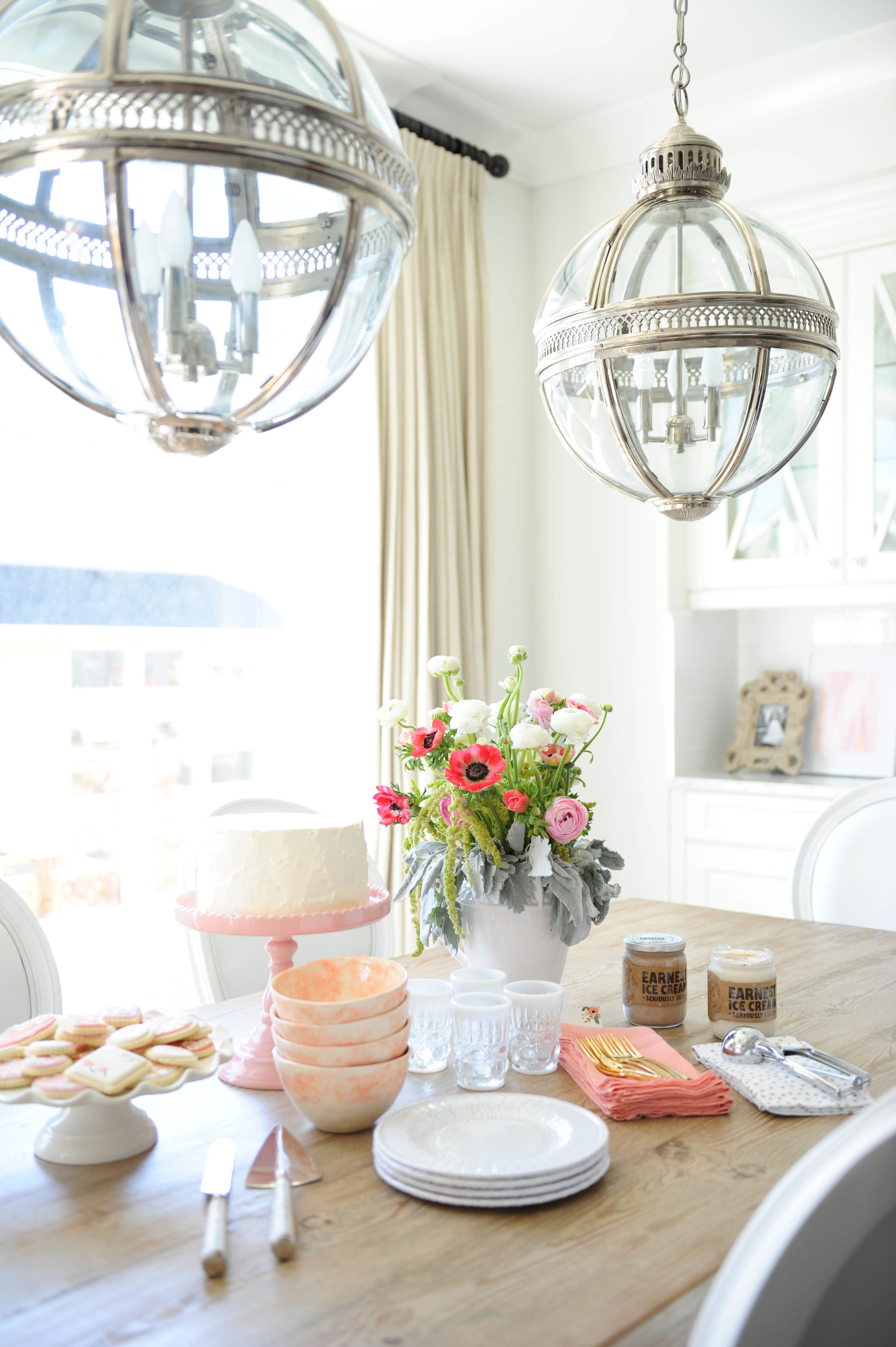 Neutrals + A Pop Of Pink Win In This Blogger Home. Lantern LightingDining  TableDining ...