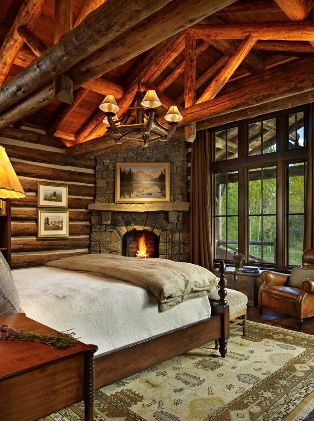 35 Gorgeous log cabin style bedrooms to