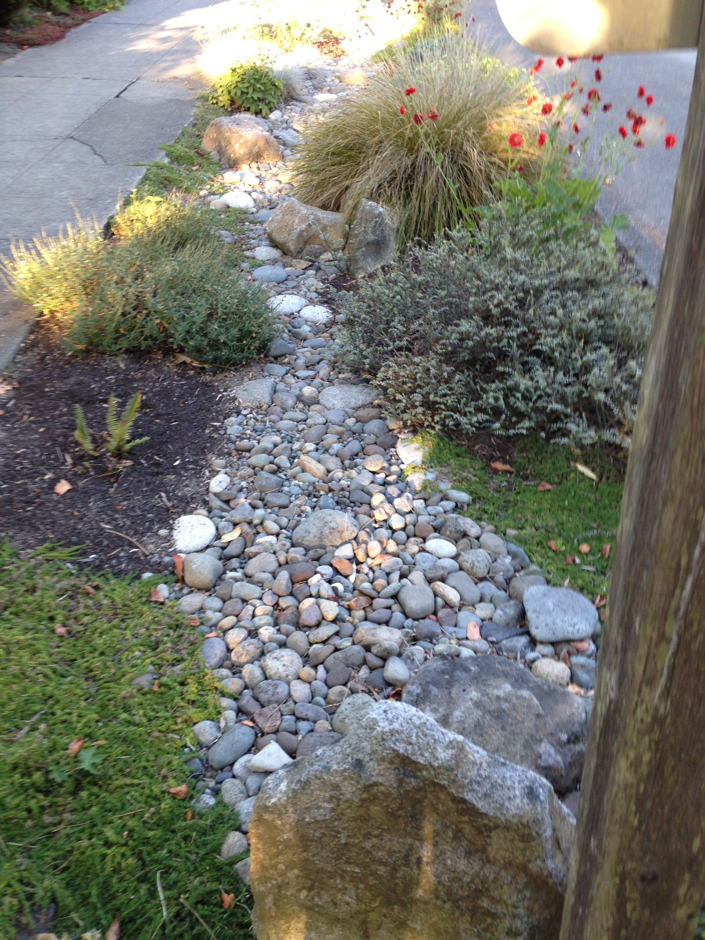 Beautiful Rock River For Landscaping The Parking Strip Area In The