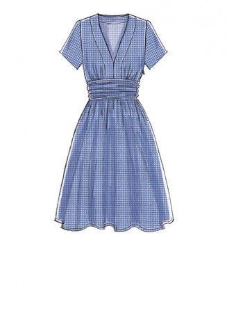 M7537 Misses Banded, Gathered-Waist Dresses (size: 6-8-10-12-14)