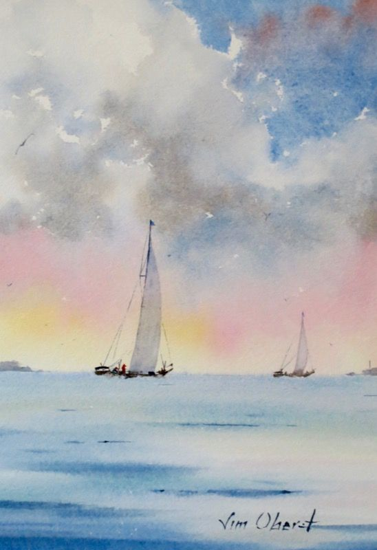 "Evening Glow - 11x7.5"" original watercolor painting by Jim Oberst - $100 incl. U.S. shipping"