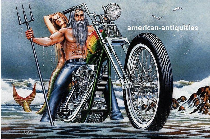 "David Mann Motorcycle Biker Easyriders Centerfold Art Poster Print Neptune's Ride Poseidon Bike Chopper Sturgis Daytona  10.5"" x 15.75"""