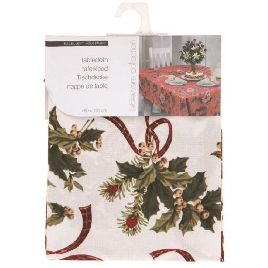 Kerst tafelkleed met print, mooi voor het kerstdiner. Het is gemaakt van polyester. Afmeting: 130 x 80 cm. Wasbaar op 30 graden.