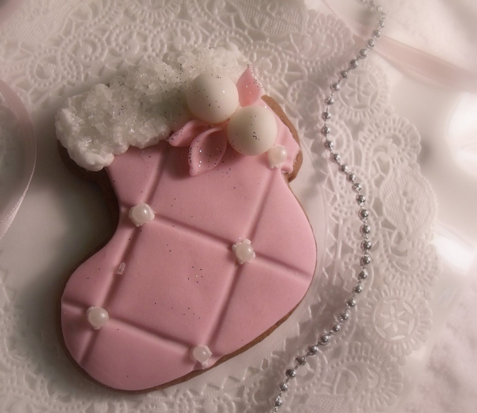 Pink Stocking Cookie food pink sweets cookies treat dessert decorate frosting bake christmas stocking