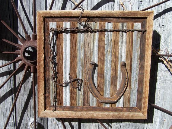 Western Wood Wall Decor : Reclaimed barn wood wall art with old workhorse horseshoes