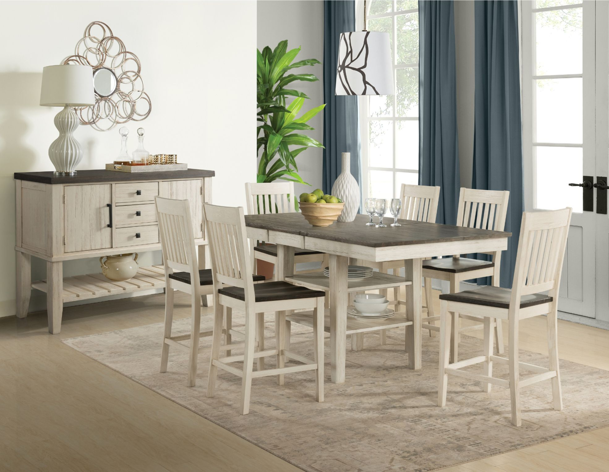 Huron Dining Server Chalk Casual Style Solid wood