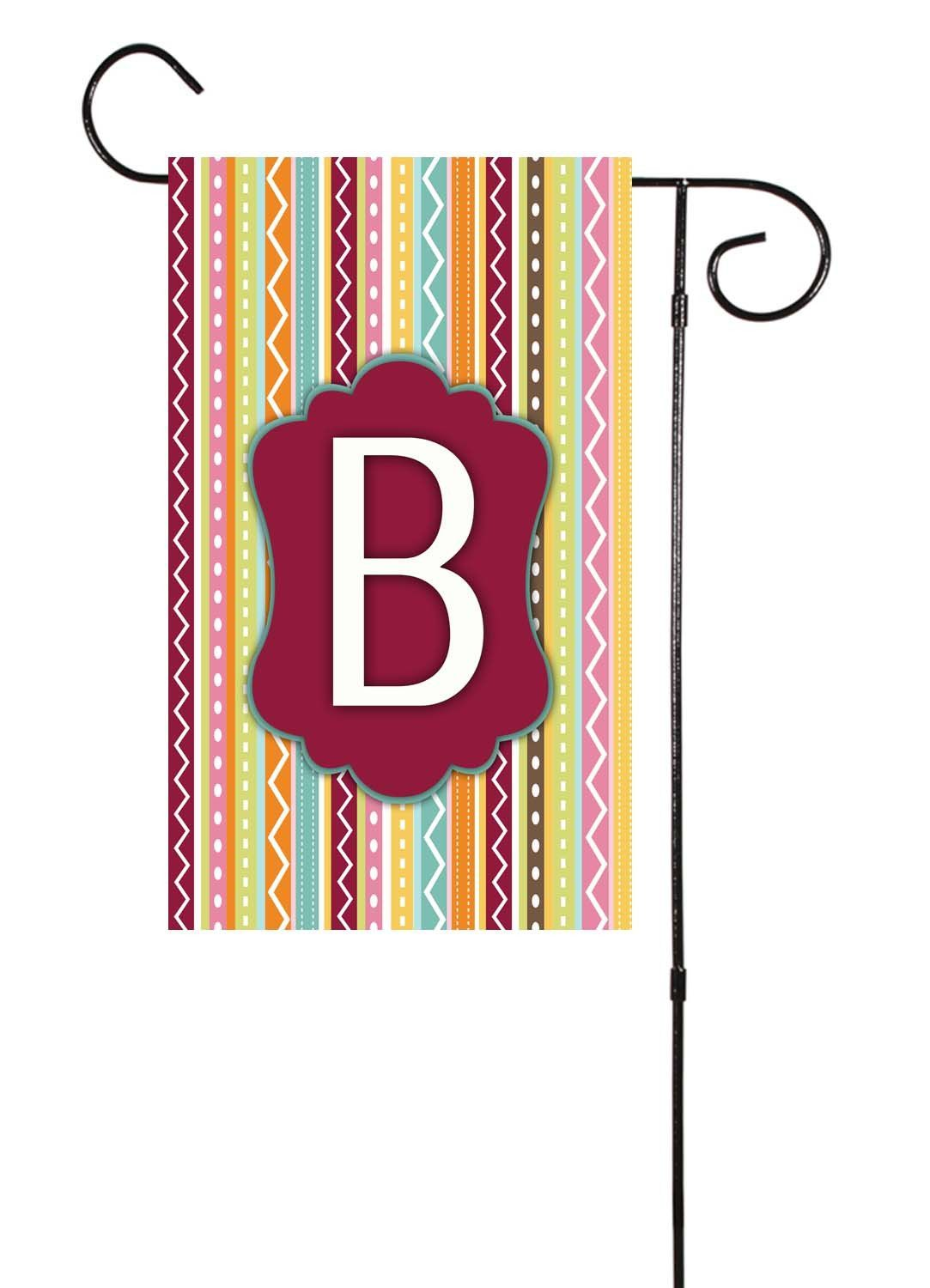 Whimsical Stripes Initial Garden Flag Spring Decor Garden