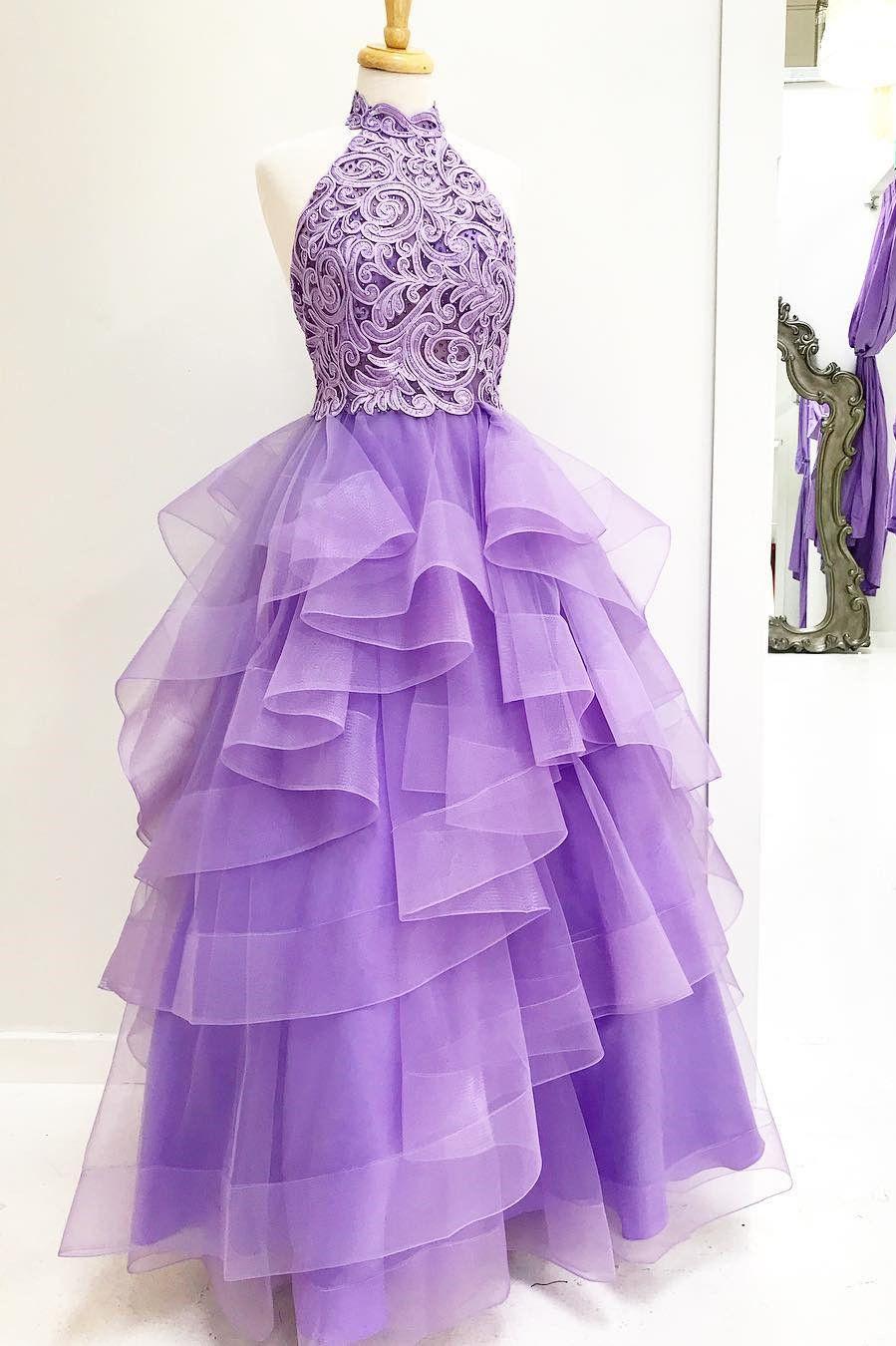 Princess high neck light purple long prom dress in evening