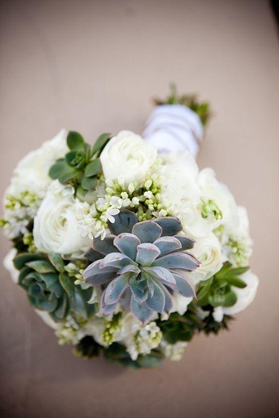 white and succulent wedding flower bouquet, bridal bouquet ...