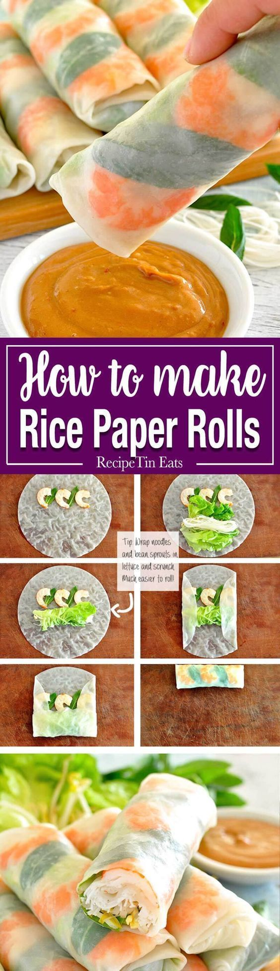 Rice Paper Rolls (Spring Rolls) Fresh and healthy Vietnamese rice paper spring rolls with an amazing peanut sauce. Plus TWO secret tips to make it super easy to roll them…Fresh and healthy Vietnamese rice paper spring rolls with an amazing peanut sauce. Plus TWO secret tips to make it super easy to roll them…