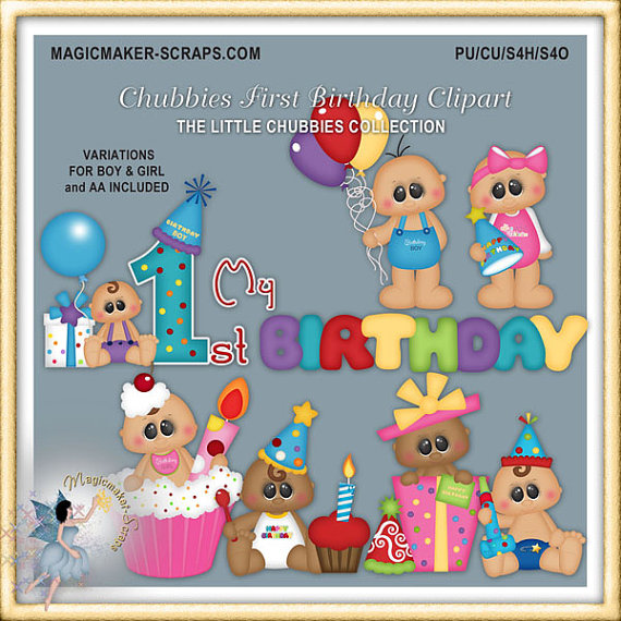 Baby Birthday Clipart, Chubbies First Birthday Party | Babies ...