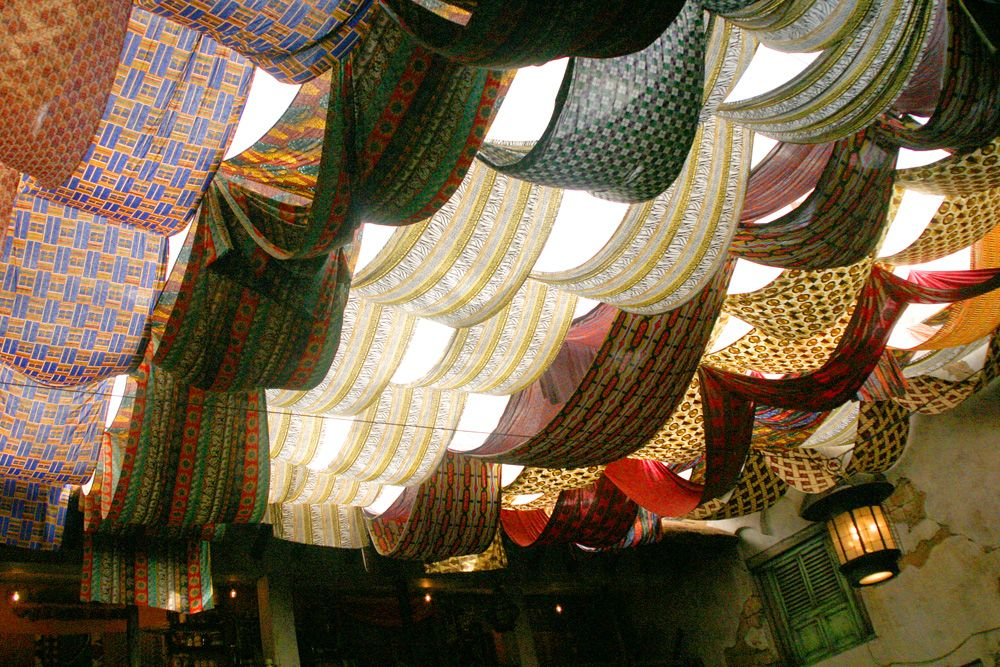 Fabric Draped Ceiling   A Creative Way To Cover Your Unfinished Basement  Ceiling.