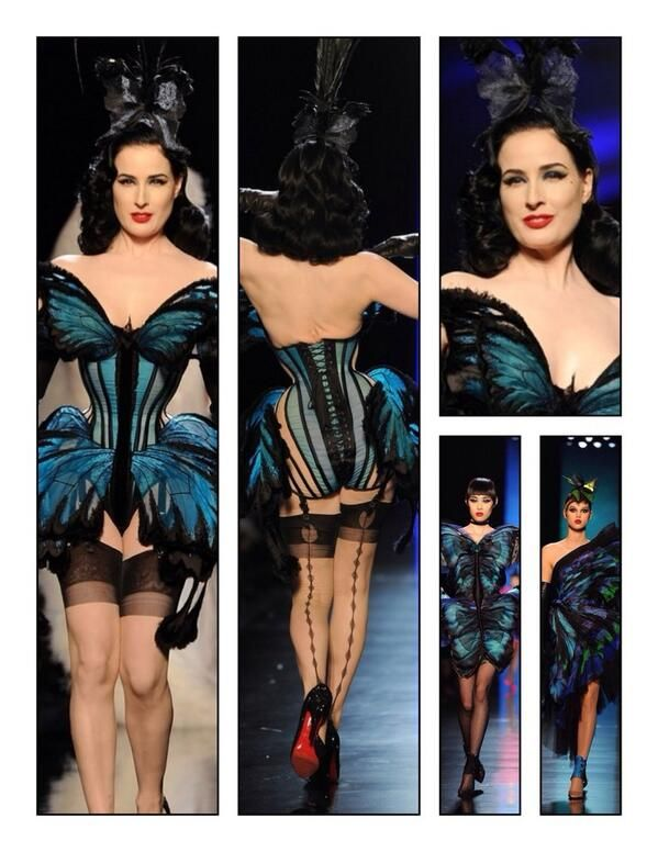 Ultimate butterfly corset glam--Gaultier/ Dita/ Mr. Pearl awesomeness.  Jan., 2014 Gay Paree!