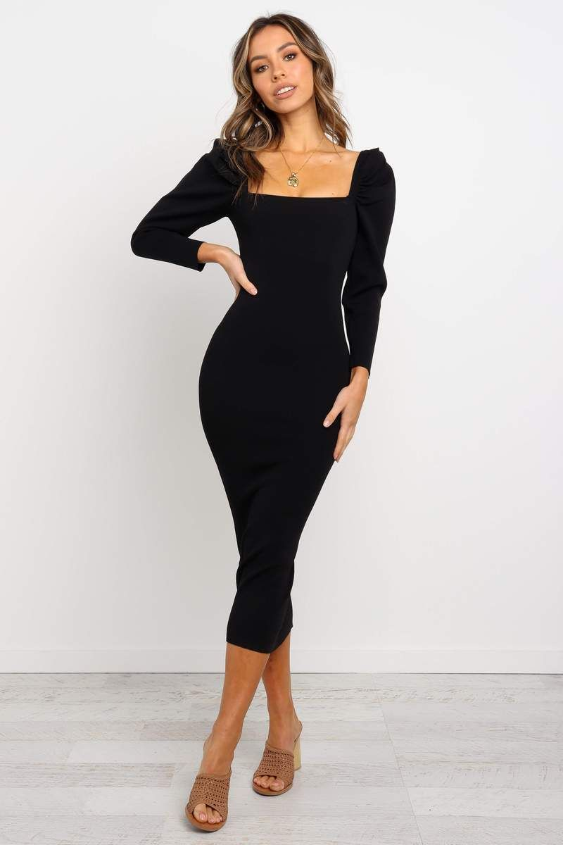 Sebbie Dress Black In 2021 Prom Dresses With Pockets Long Sleeve Midi Dress Sleeved Velvet Dress [ 1200 x 800 Pixel ]