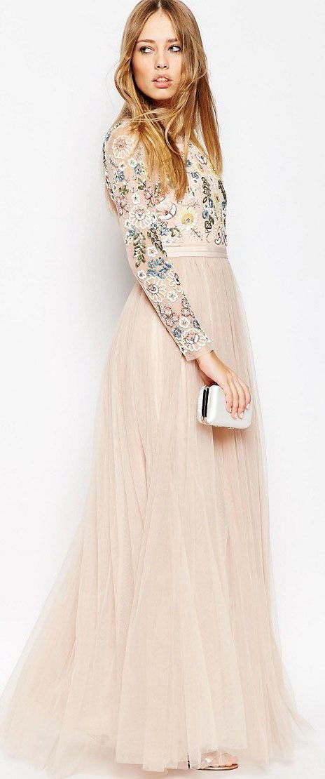 Sequined Scoop Neck Long Sleeve Tulle Bridesmaid Dress With Beading ...