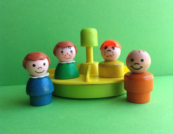 vintage fisher price wooden little people toy triangle shape lot