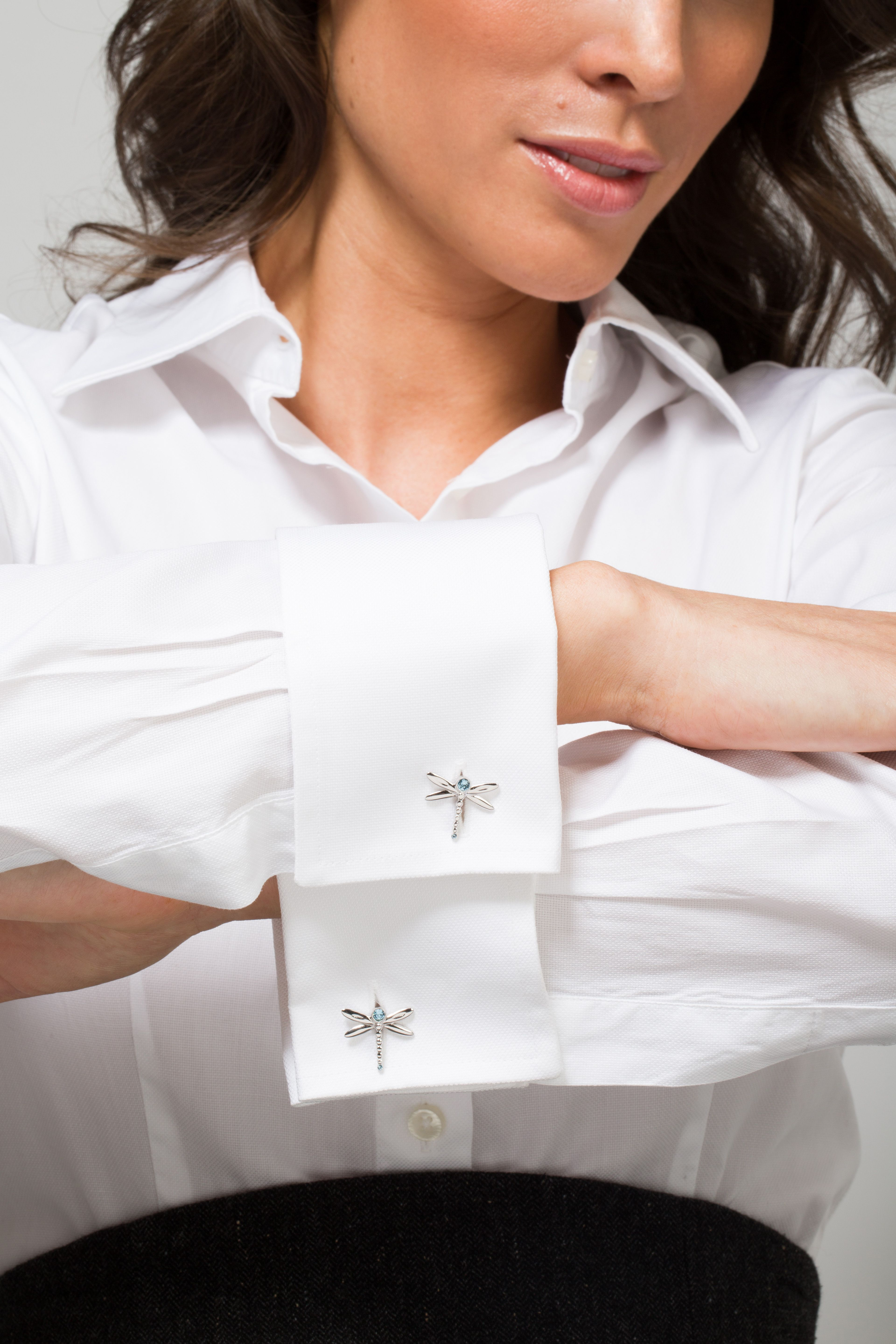 White shirt with Miss Links 'Tina' dragonfly cufflinks | Miss ...