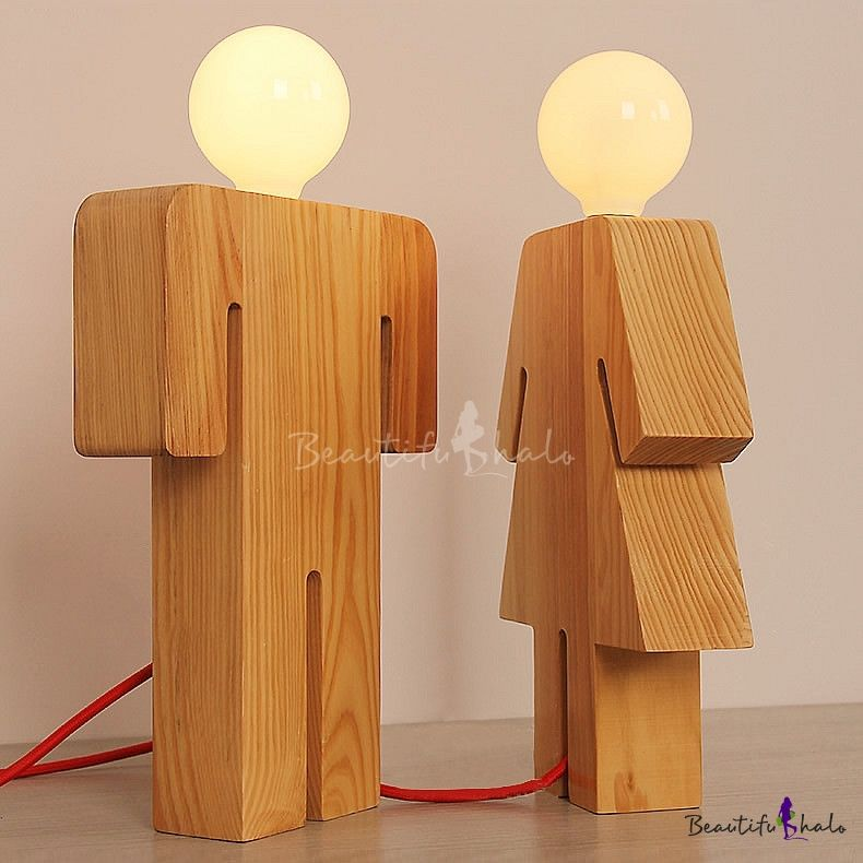 Bathroom Door   Plywood Novelty And Lovely Human Shape Wooden Designer Table  Lamp