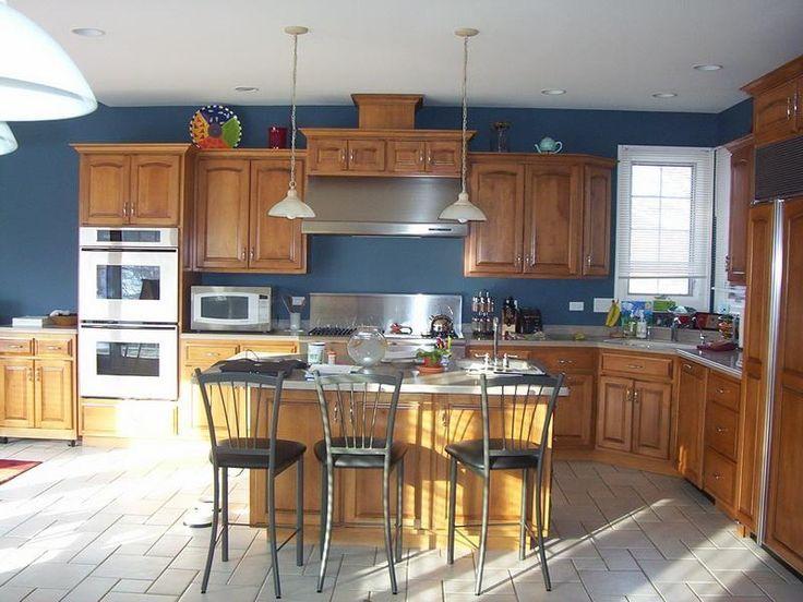 Blue Kitchen With Oak Cabinets  Oak Kitchen Cabinets  Pinterest Pleasing Blue Kitchen Design 2018