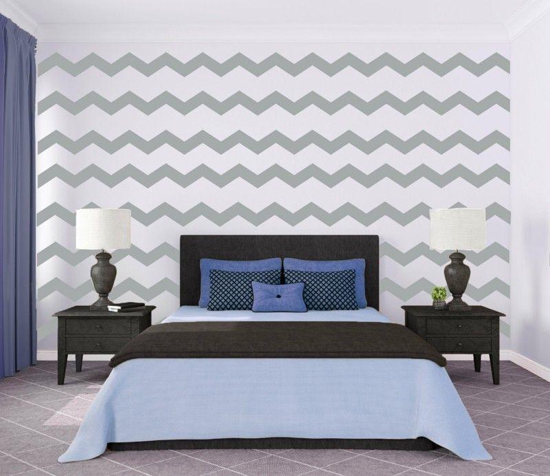 Ein Wandmuster Im Zickzack Design Für Ein Schlafzimmer